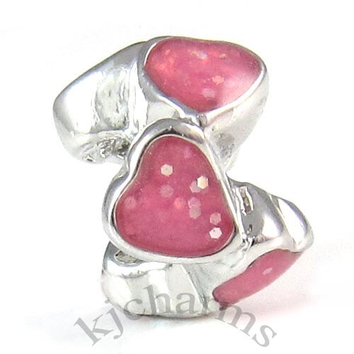 Glitter Heart To Heart Silver European Spacer Charm Bead For Bracelet Necklace