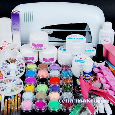 9W UV white dryer lamp 24 color Acrylic Powder Nail Art Kit gel tools Set 303