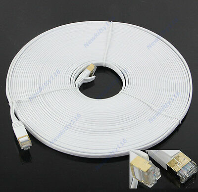 Internet Lan Network Cable 15M Cat7 RJ45 M/M Thin Flat Shielded Twisted Pair