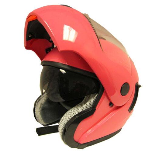 NEW Motorcycle Modular Flip up Dual Lens/Shields Full Face Helmet Glossy Pink