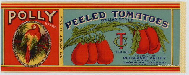 POLLY Vintage Texas Tomato Can Label, Parrot, *AN ORIGINAL 1930's TIN CAN LABEL*