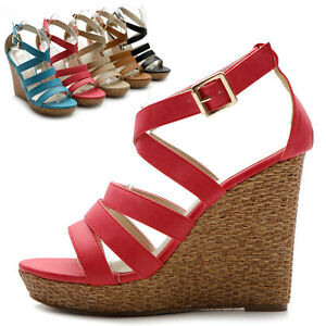 New-Womens-Shoes-Wedge-High-Heels-Platforms-Open-Toe-Pumps-Multi-Colored-Sandal