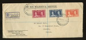 NEW-ZEALAND-1937-OHMS-REGISTERED-to-CEYLON-OFFICIAL-SEAL-KG6-CORONATION-SET