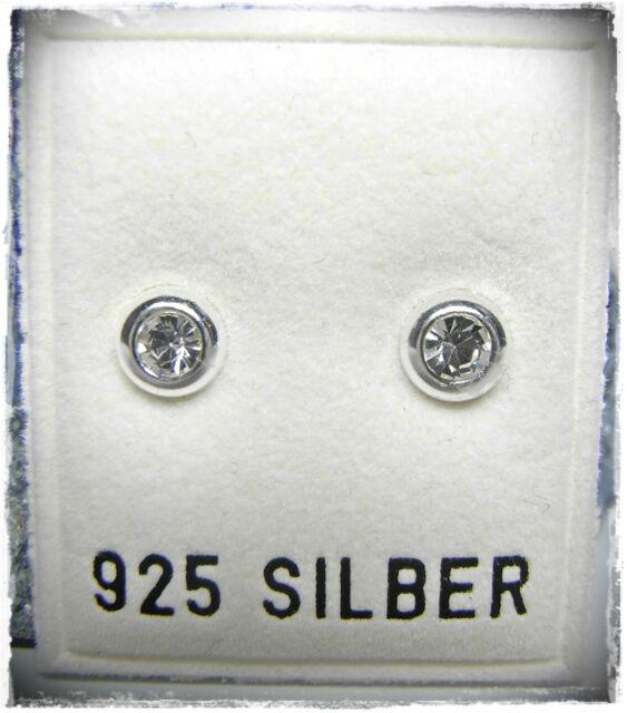 NEU 925 Silber OHRSTECKER OHRRINGE mit SWAROVSKI STEINE Kristallklar / klar