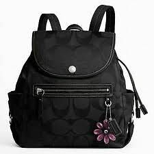 NWT-Authentic-COACH-KYRA-Black-SIGNATURE-BACKPACK-BAG-PURSE-16548-298
