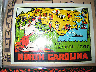 1 VINTAGE 1970's IMPKO ORIGINAL NORTH CAROLINA SOUVENIR TRAVEL DECAL BRAND NEW !