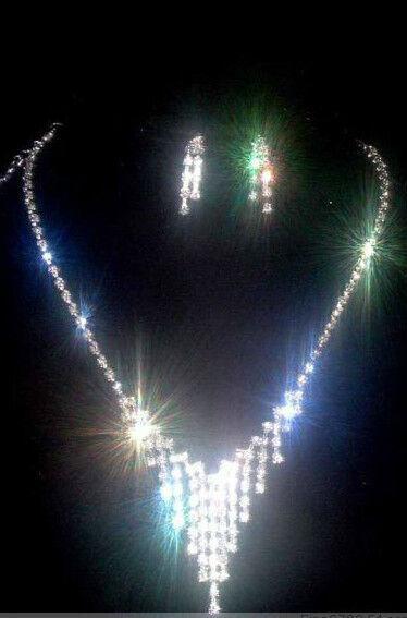 Wedding Necklace Set Rhinestone Jewelry Crystal Bridal Party Earring Fashion New