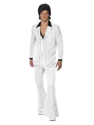 M L XL Mens White Flares Trouser Suit 70s 80s Costume Disco Fancy Dress Outfit