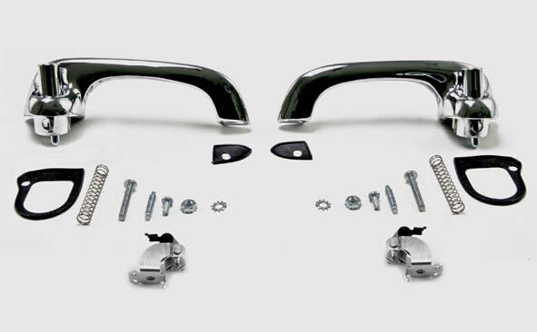 NEW! 1967-1968 Mustang Outside Door Handles, Pads,  Hardware Chrome Best Quality