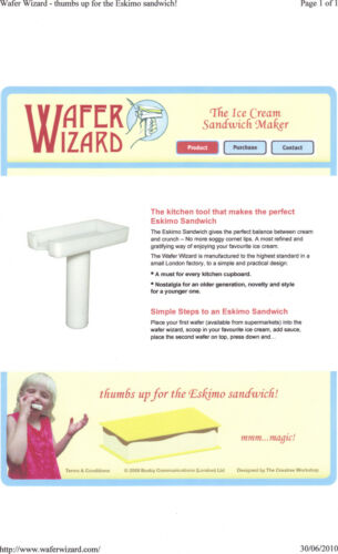 Wafer Wizard Ice Cream Sandwich Maker X 2 Including A Free Pack Of Wafers