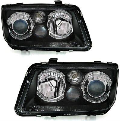 VW BORA 1999-2006 BLACK ANGEL EYE HALO PROJECTOR HEADLIGHTS & FOGS PAIR