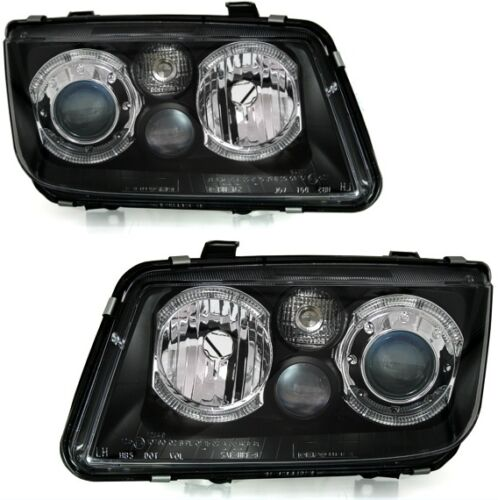 VW BORA 1999-2006 BLACK ANGEL EYE HALO PROJECTOR HEADLIGHTS & FOGS PAIR
