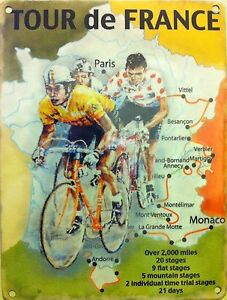 Cycling-Tour-de-France-Cycle-Racing-Map-Classic-Small-Metal-Tin-Sign-Picture