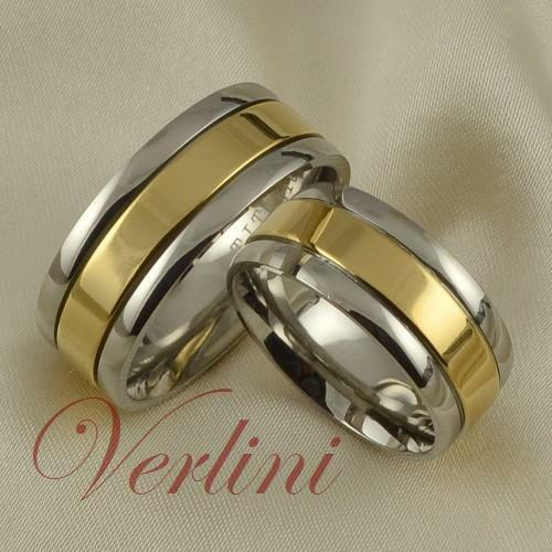 8MM Titanium Rings Set 14K Gold His & Her Wedding Bands