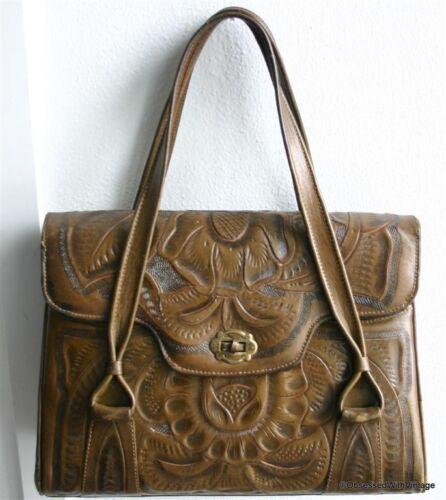 VTG leather olive green brown tooled Mexican shoulder handbag purse bag boho