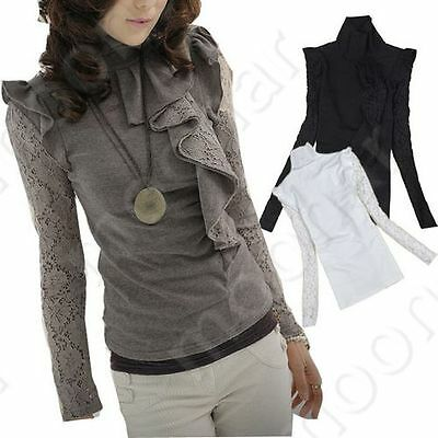 Korean Ladies Lace Standing Collar Top T Shirt Long Sleeve Blouse Casual