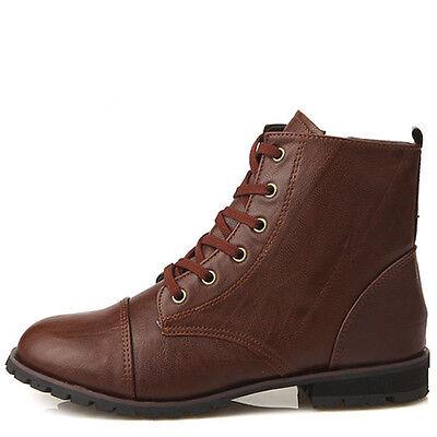 New Womens Comfort Low Heels Zip Ankle Boots Shoes Brown Nova