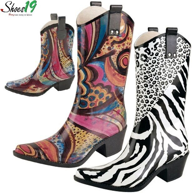 Fashion @ Women Mid Calf Rubber Cowboy Rain Boot Shoes