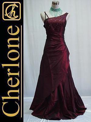 Cherlone Satin Burgundy Ball Gown Wedding/Evening Formal Bridesmaid Dress 16-18