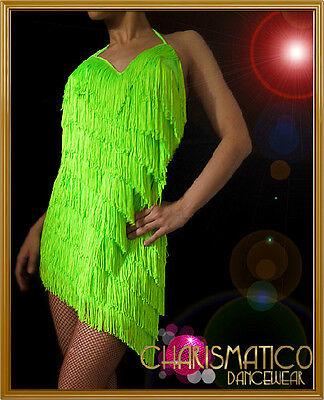 Charismatico Halter Style Hem Green Latin Inspired Fringe SALSA  Dance Dress