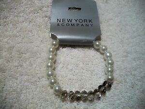 NEW-YORK-amp-CO-BRACELET-GIRLS-Fancy-Dressy-Faux-Pearl-amp-Pink-Beadsl-Stretch-NWT