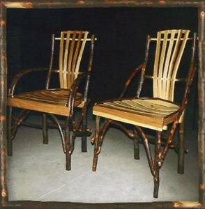 Amish Hickory Dining Chairs Rustic Cabin Lodge Furniture Furnishings Decor New Ebay