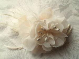 Ivory-Chiffon-Bridal-Fascinator-Flower-Hair-Clip-Womens-GIrls-Wedding-New