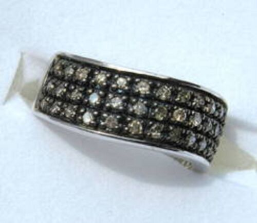 .50 Ct Champagne FANCY BROWN DIAMOND Wave Cocktail Ring Sterling Silver I2 ronde