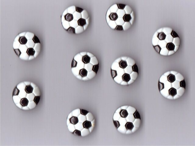NOVELTY FOOTBALL SHAPED BUTTONS X 10 - BLACK / WHITE - CRAFTS,BABY,FASHION