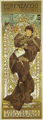 Mucha Lorenzaccio Renaissance Theater Vintage Poster Repro FREE SHIPPING