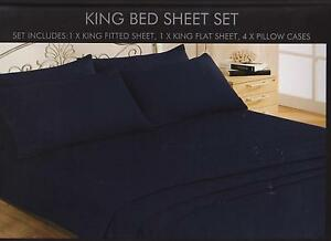 SOFT TOUCH KING SIZE 6 PIECE FITTED & FLAT SHEET SETS 4 P/CASES IN DARK BLUE