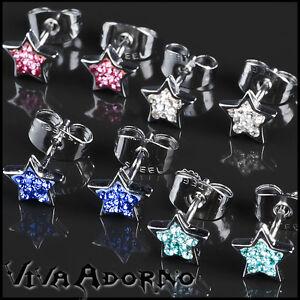 1-Par-Pendientes-estrellas-CIRCONIO-STRASS-ROCKABILLY-Acero-Inoxidable-Z221
