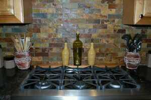 about slate subway pattern mosaic stone tile kitchen backsplash