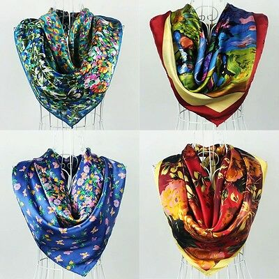 Womens Beauty Classical VINTAGE AUTHENTIC 35inch 100% Silk Scarf Square