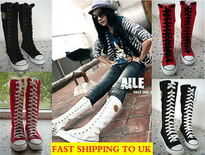 Women-Girl-Punk-EMO-Rock-Gothic-zip-Lace-up-Canvas-boot-shoe-sneaker-knee-high
