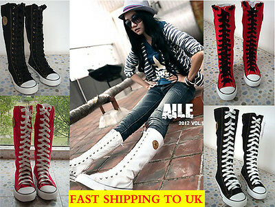 Women Girl Punk EMO Rock Gothic zip Lace up Canvas boot shoe sneaker knee high