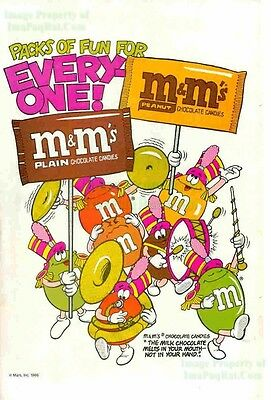 M&M's MARS Candies Milk Chocolate Marching Band ORIG VINTAGE 1980's PRINT ART AD
