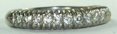 VINTAGE ART DECO 1920'S PLATINUM 1/2 CARAT WEDDING ANNIVERSARY BAND RING SIZE 8