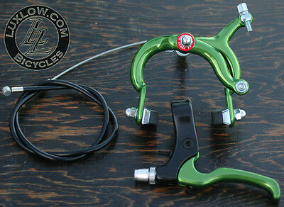 Green Fixie ALLOY Front Brake Lever Cable Caliper Fixed Gear Bicycle VintageBike