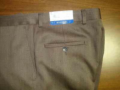 NWT $175 HART SCHAFFNER MARX WOOL MODERN DRESS PANTS MEN 38 BROWN FLAT FRONT NEW