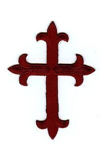 Iron-On-Applique-Embroidered-Fleur-De-Lis-Cross-Burgundy