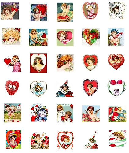 Valentine Inchies Mini Fabric Block Collection FrEE ShiPPinG WoRld WiDE