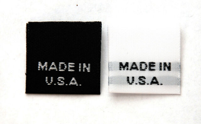500PCS 'MADE IN USA'  WOVEN LABEL TAGS  (BLK/WHT or WHIT/BLK) - FAST USA SHIPPER