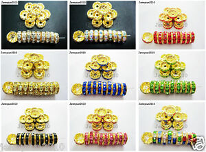 100Pcs-Czech-Crystal-Rhinestones-Gold-Rondelle-Spacer-Beads-4mm-5mm-6mm-8mm-10mm