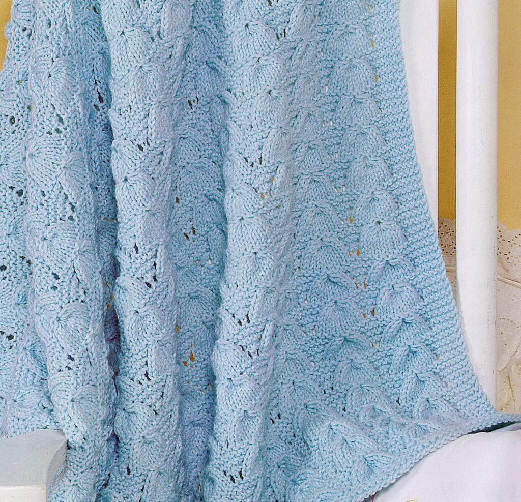 Aran Seashell Baby Blanket Knitting Pattern Copy 34 Quot X 45