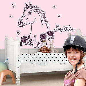 Wall Tattoo Kids : WALL TATTOO Horse head with name Ride Childrens room Rose Girls Wall ...