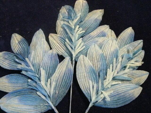 Vintage Millinery Flower Leaf Frilly Accent Shade Slate Blue K5