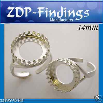 Quality 14mm Solid Shiny Sterling Silver 925 bezel cup Ring For Setting (8481SH)