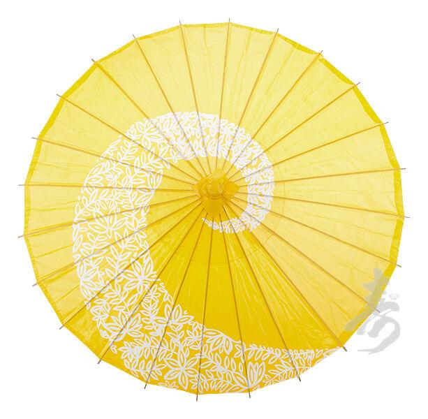 "32"" Yellow Twist Paper Parasol - handmade bamboo and rice paper umbrella"