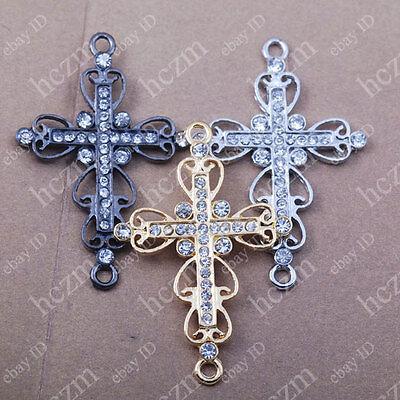 10x crystal rhinestone cross filligree bracelet connector charms sideways heart